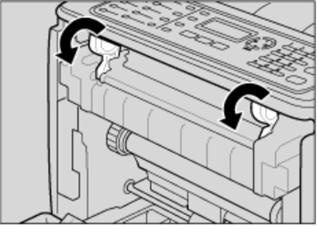 Baje la palanca de la unidad de fusión de color azul